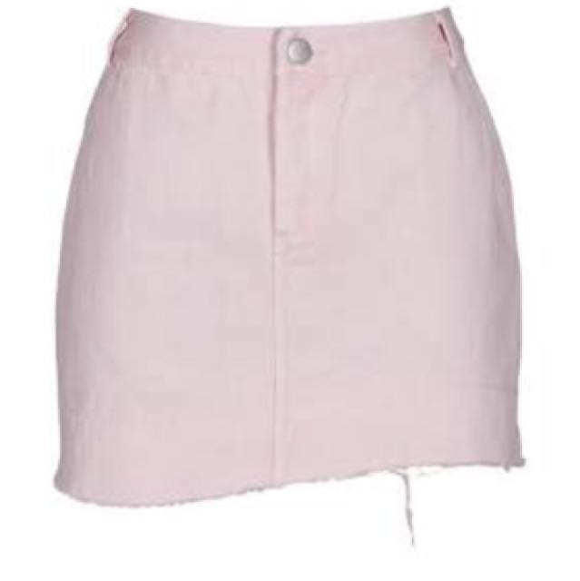 Ruby Pink Denim Skirt