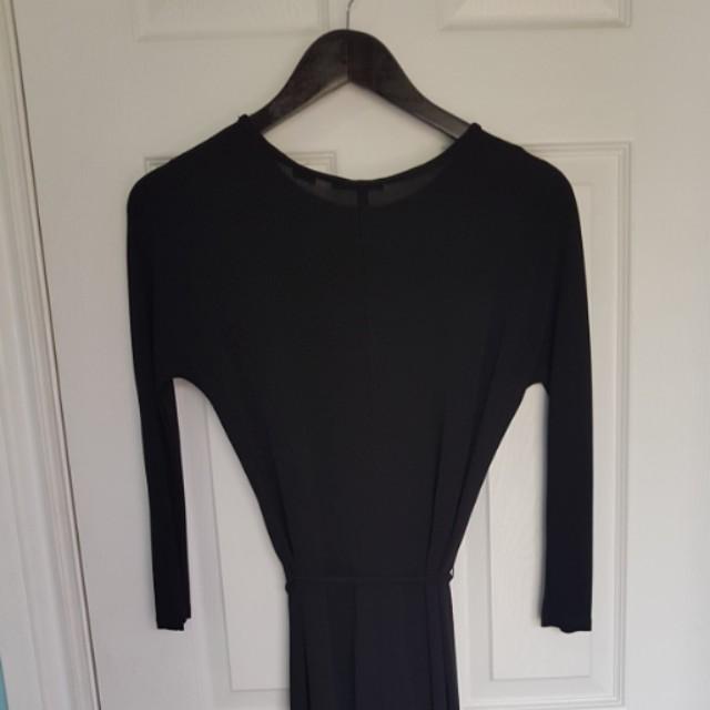Aritzia Babaton Maxi Long-Sleeve Black Dress Tie Waist