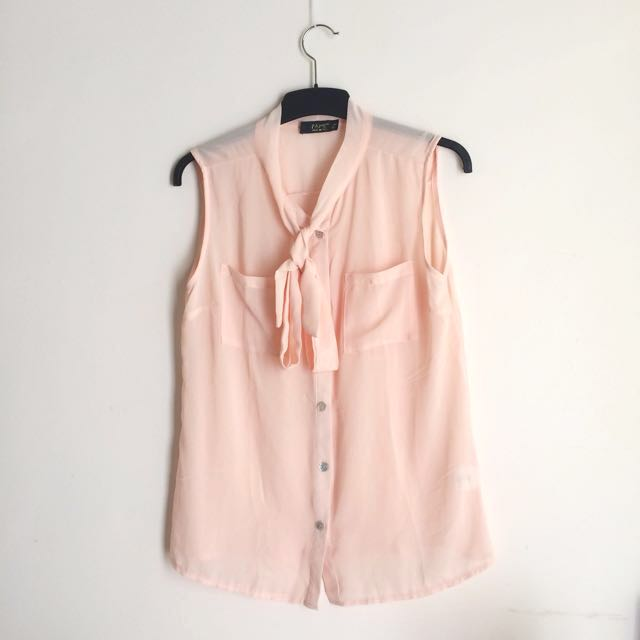 Sheer Peach Top with Bow