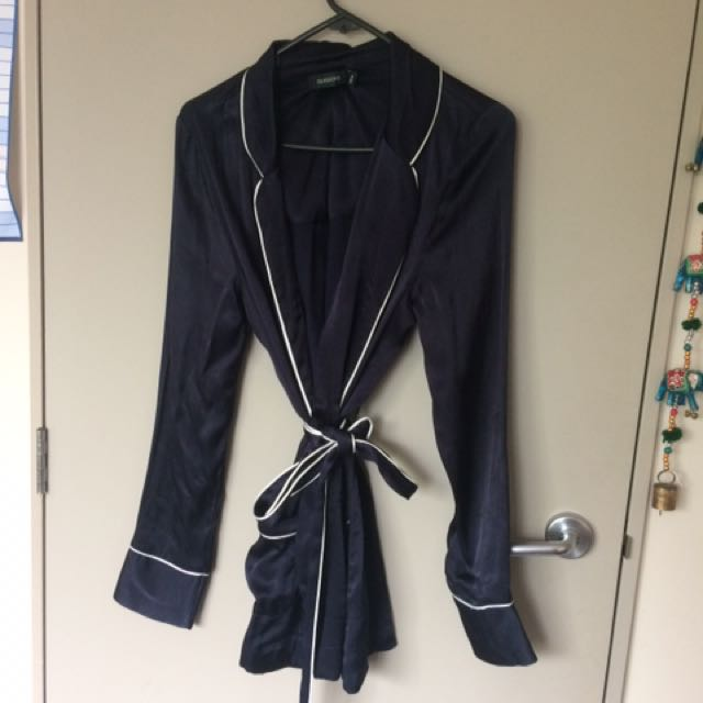 Silk Navy Blue Robe