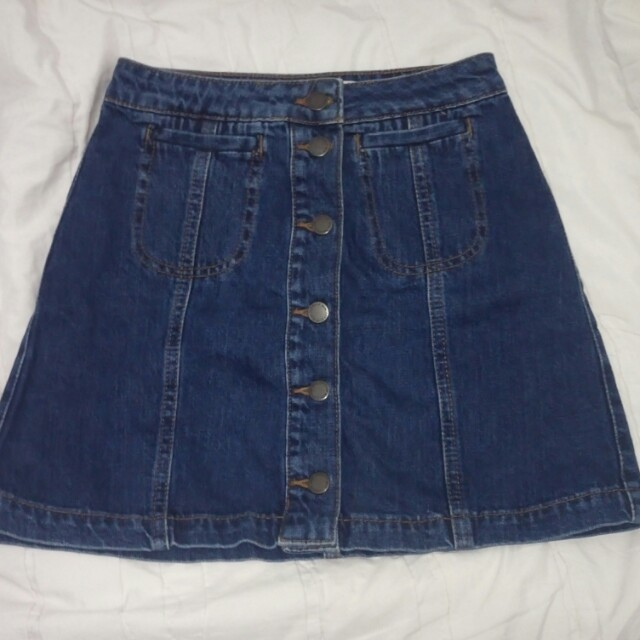 TOPSHOP MOTO Front Button Denim Skirt with Pocket