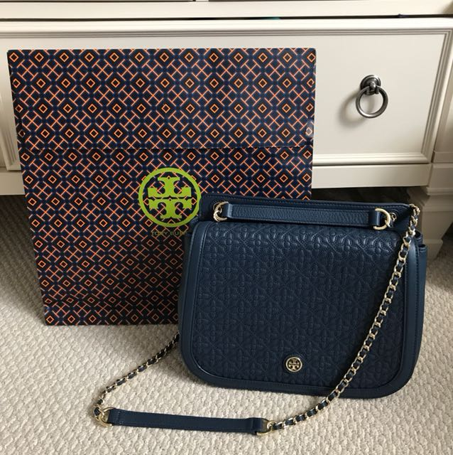 Tory Burch Bryant Quilted Shoulder Bag - Navy