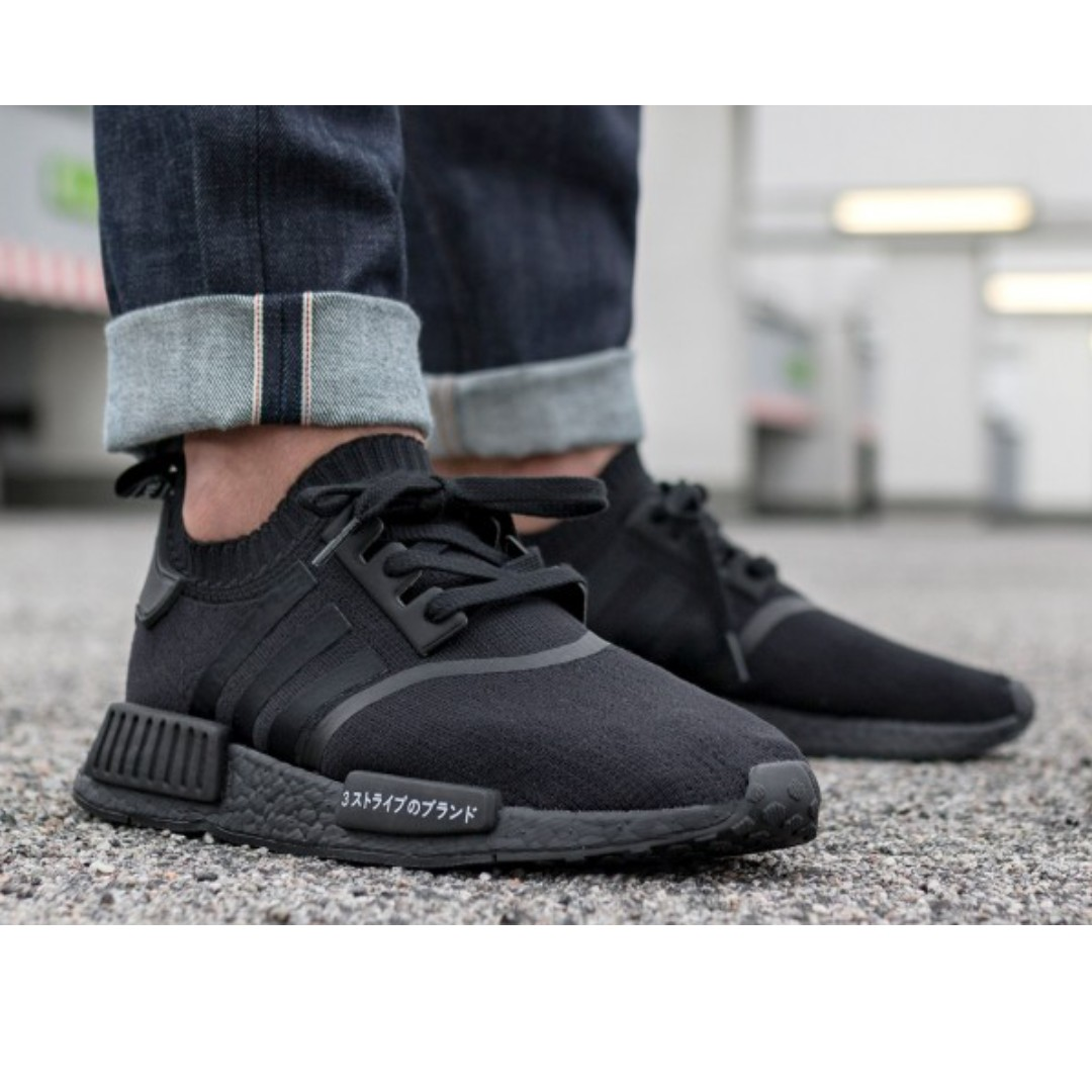 d684792d56134 adidas NMD R1 Primeknit Japan Triple Black Sneaker shoe, Men's ...