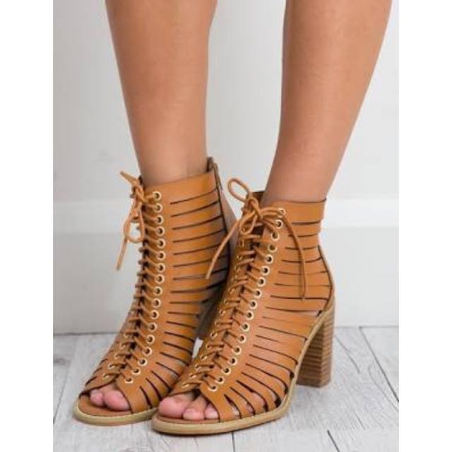 VERALI Brown Faux Leather Heels Summer Sandals