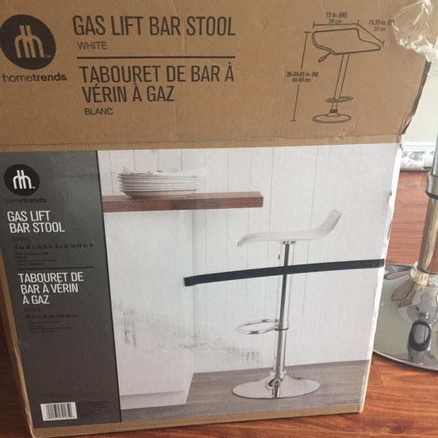 White Gas Lift Bar Stool