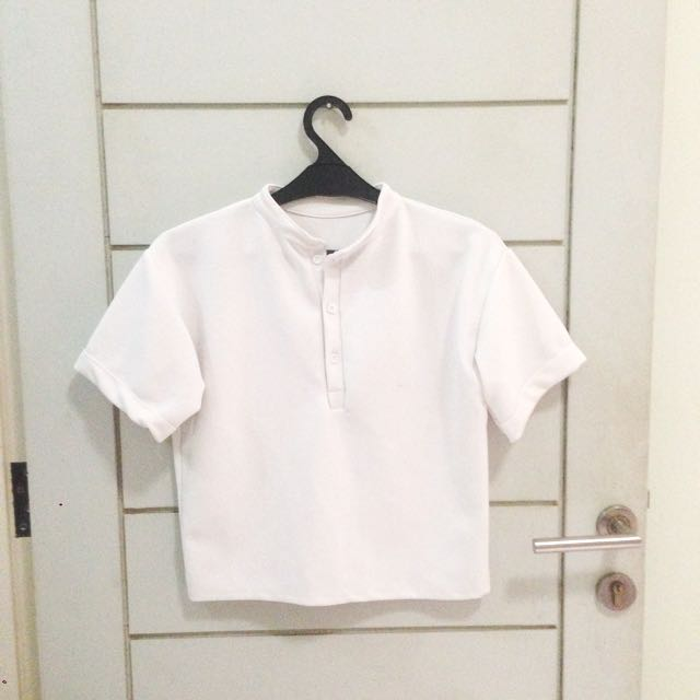 White Scuba Bangkok Blouse Polo Shirt Top