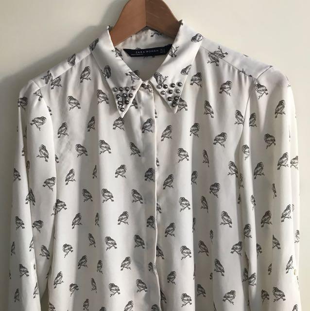 Zara. Owl shirt with studs