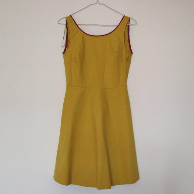Zara Trf Yellow Dress
