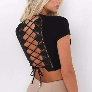 Sexy back Bow bandage top