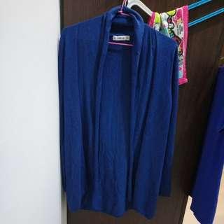 絕版 ZARA 藍色 摺領 薄長版 披肩外套 針織罩衫