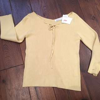 Japanese Yellow Ribbed Sweater