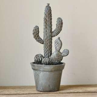 Grey Resin Cactus Planter Statue