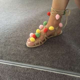 Tie up colourful shoes