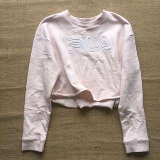 Pink FILA cropped sweater