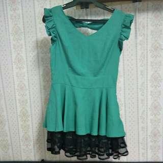 Green Ribbon-Back dress