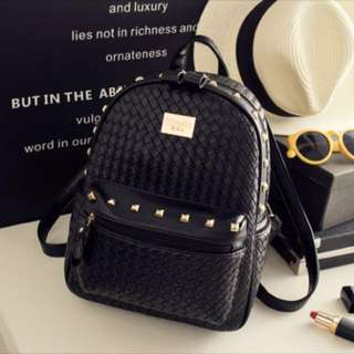 Small black Backpack Gold Studded