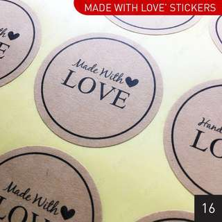 [$1.00/sheet] 'Made with Love' & 'Handmade with Love' Kraft Stickers 3.8cm