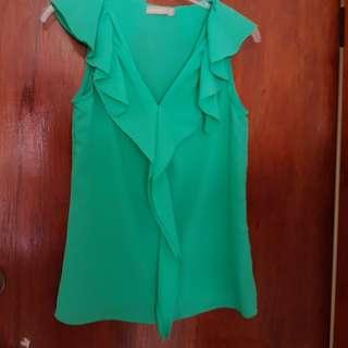 Bulk 3 shirts forcast green chiffon, pink lace & snake skin blouse