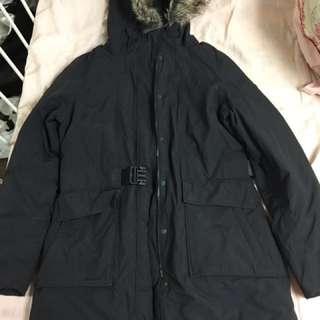 Black parka winter jacket
