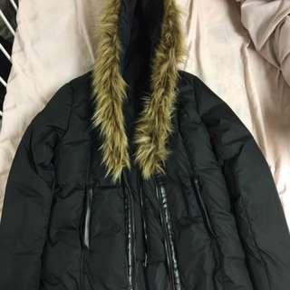Black zip fur-line bubble hooded winter jacket