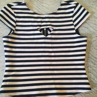 Portman's navy striped top sizeS