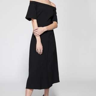 Witchery black off shoulder midi dress