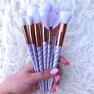 10pcs Pearl White Unicorn Brush Set