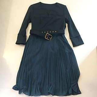 Emerald Pleat Dress