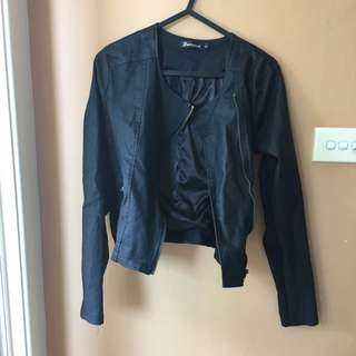 Stretchy Leather look Jacket