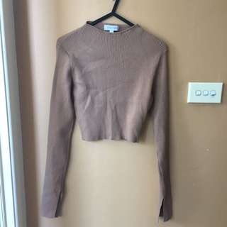 Tan Long Sleeve Crop