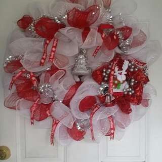 "New handmade christmas wreath 24"" reindeer bells and tulle mesh"
