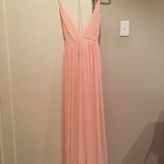 Strappy pink formal dress