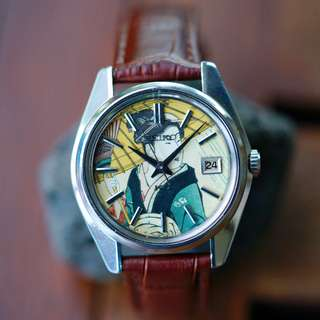 """vintage KING SEIKO 5625-7000 """"Blocky"""" First Automatic Watch with Ukiyo-e Dial"""