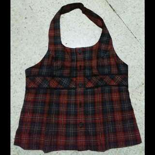 vest rompi plaid red