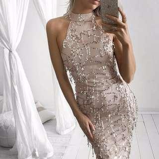 Tassel Sequin Maxi Formal dress