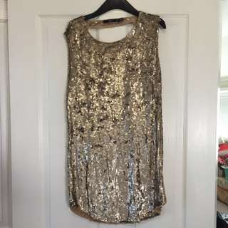 Gold Fully Sequinned Sportsgirl Dress