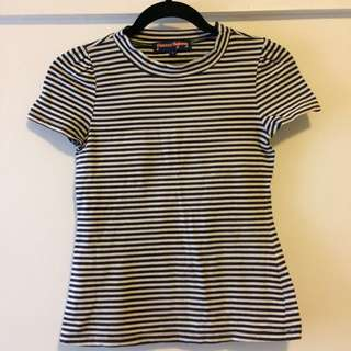 Princess Highway High Neck Stripe Tee Size 6/XS