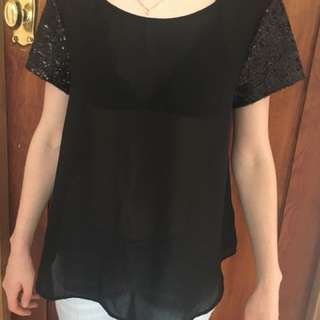 Black chiffon Sequinned Top