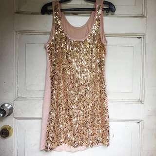 Sequin golden dress