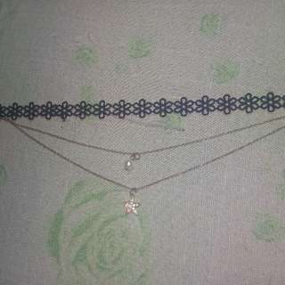 Two chain choker w/ pearl & star pendant