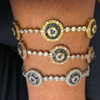 Evil eye silver, yellow gold and rose gold bracelets