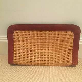 Vintage Leather Woven Large Clutch