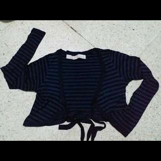 zara striped black navy cardigan