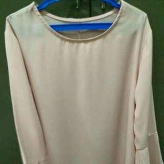 Pink/peach Bell sleeves Dress