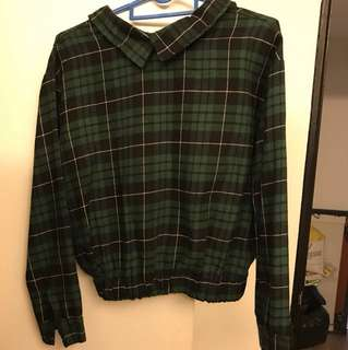 NEW plaid checkered green black collared blouse