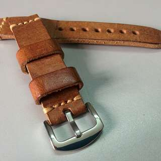 Italian Leather Watch Strap (High Quality Sand/Honey-Brown, 20mm)
