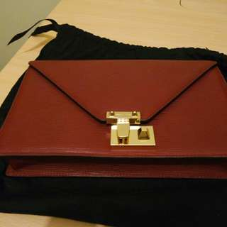 REBECCA MINKOFF - RED SAFIANO MESSENGER BAG/CLUTCH