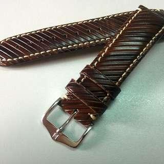 HIRSCH Rivetta Calf Leather Watch Strap (Dark Brown, 22mm)