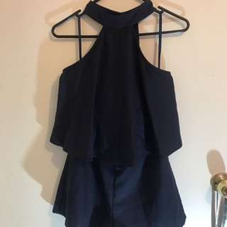 Dissh High Neck Ruffle Playsuit Size 8
