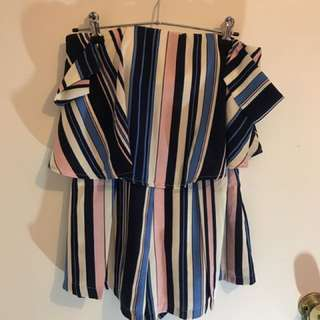 Princess Polly Off The Shoulder Striped Playsuit Size 8
